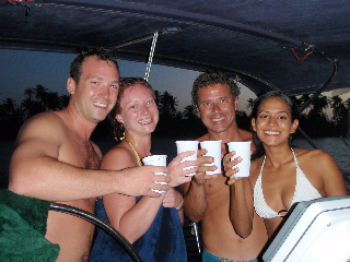 Glen, Holly, Tony and Karen on Engagement Night... salud!